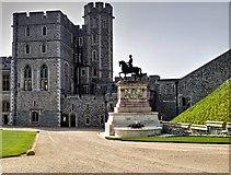 SU9777 : Windsor Castle Upper Ward: Quadrangle, Charles II Statue and Edward III Tower by David Dixon