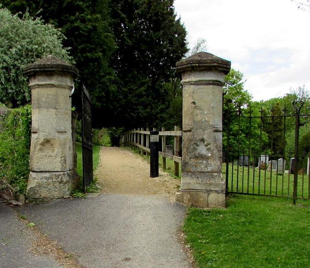 Stone gateposts at the edge of The Tyning, Freshford