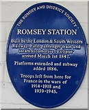 SU3521 : Potted history of Romsey railway station on a blue plaque by Jaggery
