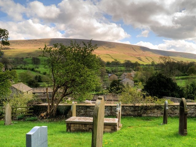 View of Pendle Hill from St Leonard's Churchyard