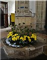 TG1323 : Cawston: St Agnes Church; The octagonal font with medieval cover by Michael Garlick