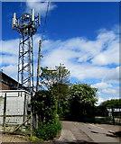 SU3521 : Canal Walk telecoms mast, Romsey by Jaggery