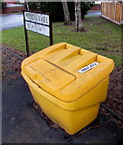 ST3091 : Yellow grit box number 9 on a corner in Malpas, Newport by Jaggery