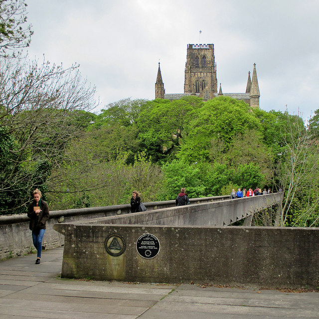 Durham: Kingsgate Footbridge and a view of the Cathedral