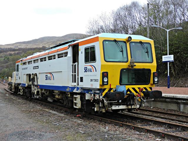 Tamper vehicle at Garelochhead railway station