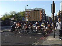 TQ3279 : Cyclists ahead of the traffic, Borough High Street by Stephen Craven