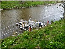 NJ1736 : Fish trap on the River Avon by Oliver Dixon