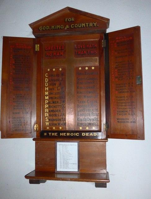 Holy Trinity, Colton: war memorial