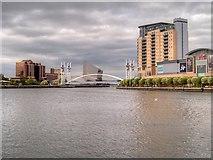 SJ8097 : Manchester Ship Canal, Salford Quays by David Dixon