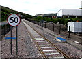 SO1709 : Speed limit sign facing Ebbw Vale Town railway station by Jaggery