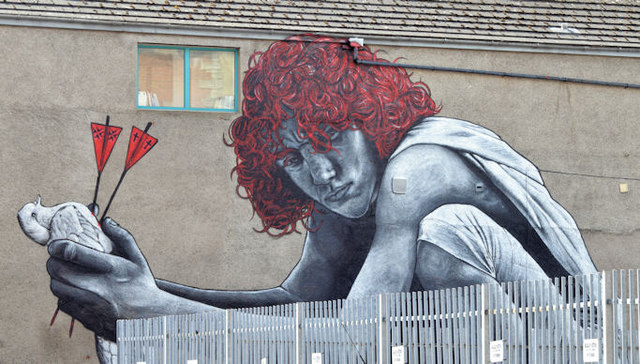 """The Son of Protagoras"" mural, Belfast (May 2015)"