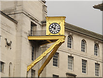 SE2934 : Leeds Civic Hall: gilded clock by Stephen Craven