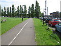 TQ2281 : Wormwood Scrubs car park, cycle track, stadium by David Hawgood