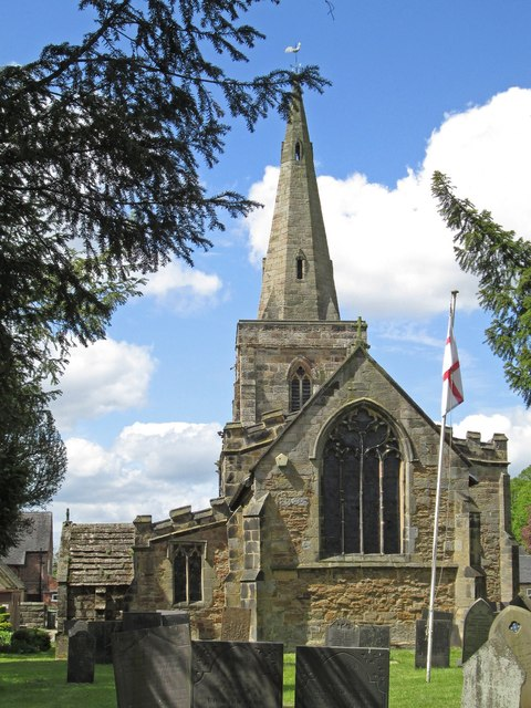 Denby - St Mary's Church - chancel and spire - from E