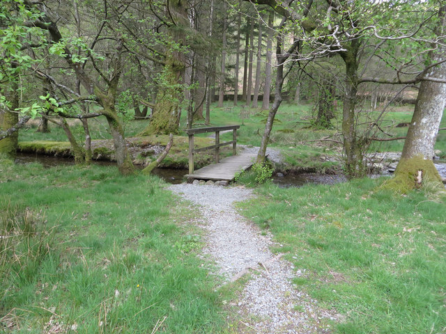 Wooden footbridge on permissive path
