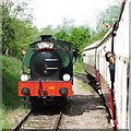 TL7735 : Hunslett 0-6-0ST runs round train at Colne Valley Railway by Roger Jones