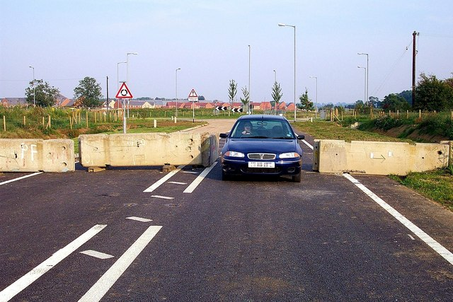 First car along the new SW relief road at Bourne, Lincolnshire