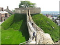 SK9771 : Lucy Tower, Lincoln Castle, from walls walkway by David Hawgood