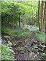 SE0326 : Hebden Royd FP39, Brearley, Mytholmroyd, crossing a stream by Humphrey Bolton