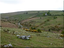 SX6092 : The valley of the East Okement River by Scarey Tor by David Smith