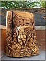 ST3188 : Wooden sculpture, Stow Hill, Newport (1) by Robin Drayton
