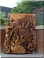 ST3188 : Wooden sculpture, Stow Hill, Newport (2) by Robin Drayton