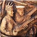 ST3188 : Wooden sculpture detail, Stow Hill, Newport (2) by Robin Drayton