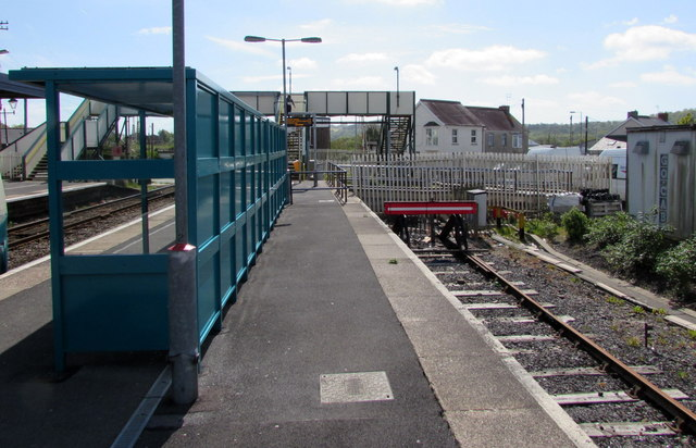Bay platform on the south side of Whitland railway station
