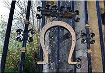 SK8608 : Oakham: Horseshoe on the gate to Oakham Castle by Michael Garlick
