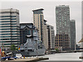 TQ3879 : German naval vessel in South Dock by Stephen Craven