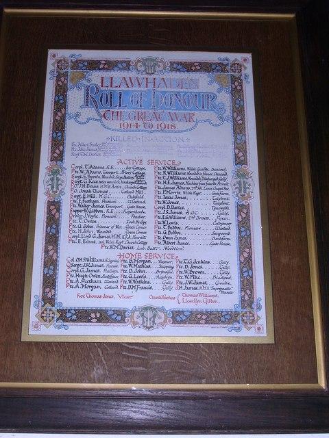 Llanwhaden Church - Roll of Honour - WWI