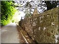 SN0717 : Llanwhaden Church - outer wall of churchyard by welshbabe
