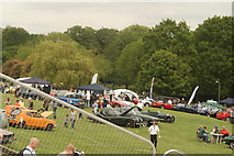 TQ3370 : View of classic cars at the National Sports Centre from the Crystal Palace terrace steps #3 by Robert Lamb