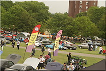 TQ3370 : View of classic cars at the National Sports Centre from the Crystal Palace terrace steps #4 by Robert Lamb