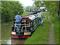SP4648 : Narrowboat next to Varney's Lock No 23 by Mat Fascione