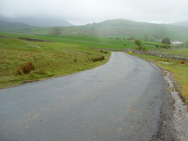 The steep road down to Uldale, from Aughertree Fell