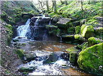 SE0722 : Waterfall on Maple Dean Clough, Greetland / Norland by Humphrey Bolton