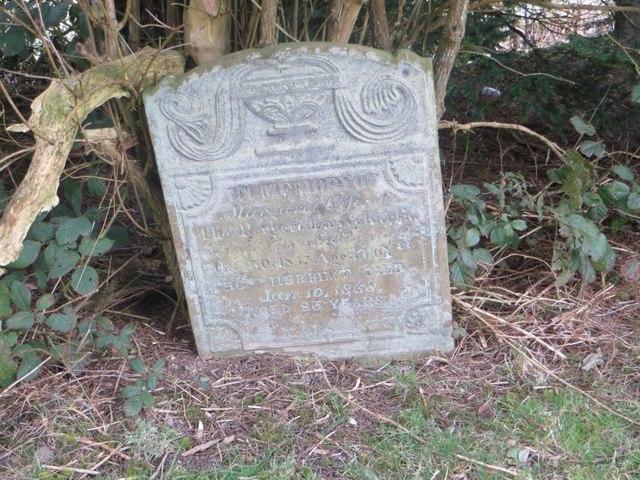Headstone in the shrub