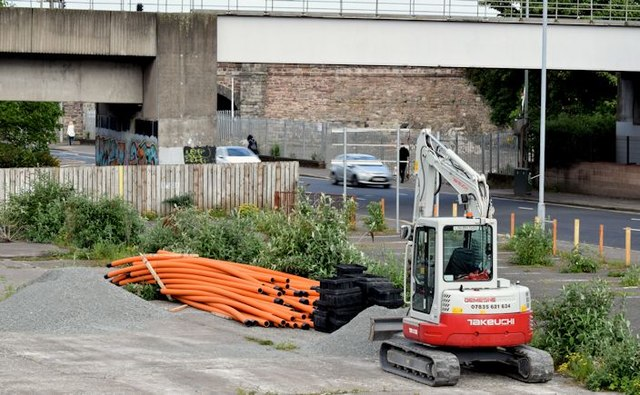 Digger and pipes, Bridge End, Belfast (May 2015)