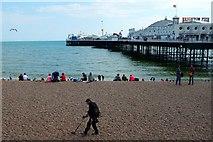 TQ3103 : Metal Detecting, Brighton Beach & Pier by Matt Harrop