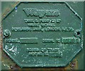 NY5921 : Manufacturer's name plate on old fuel pump, Newby by Karl and Ali