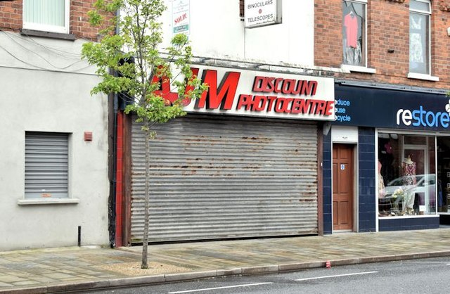 "Former ""AJM"" camera shop, Belfast (May 2015)"