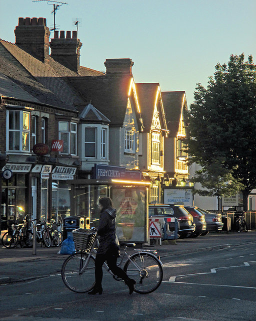 A bright May evening on Cherry Hinton Road