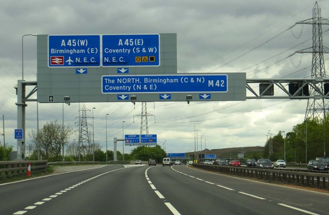 Motorway sign over the M42