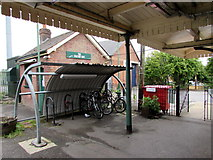 SU3521 : Romsey railway station cycle park by Jaggery