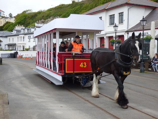 Douglas:  Horse tram at Derby Castle station