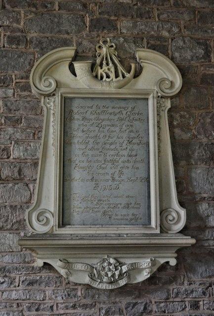 Memorial to Robert Shuttleworth Clarke, died 1915