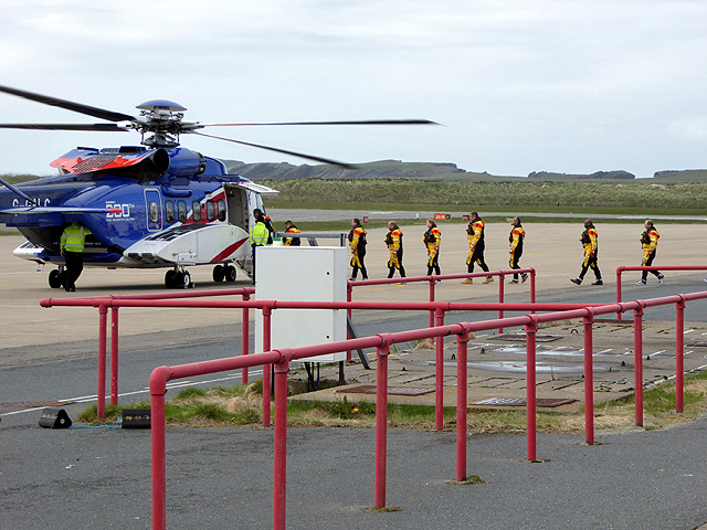 Boarding a Bristow helicopter at Sumburgh Airport