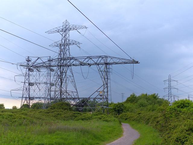 Pylons beside the Wales Coast Path