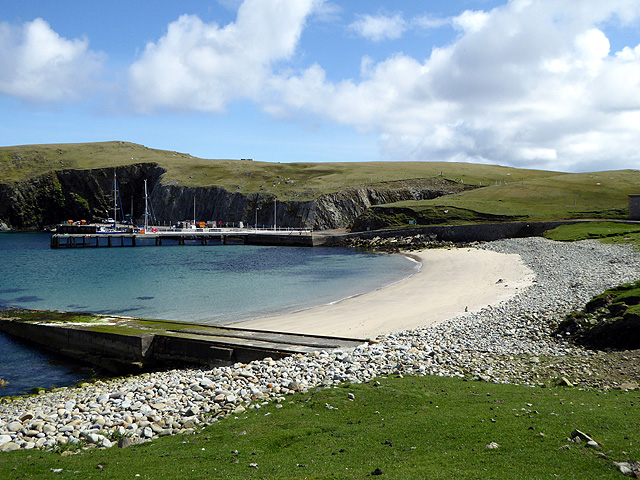 Beach, jetty and pier at North Haven, Fair Isle